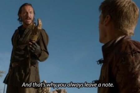 Jaime practicing his left hand with Bronn